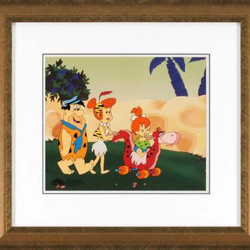 Strolling with Pebbles - Limited Edition Sericel by Hanna-Barbera Animation Art with a Full Color Lithograph Background