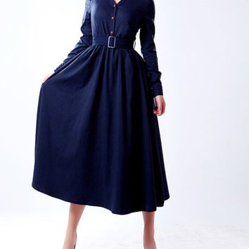 Cyan/ / Bright Red/Dark  blue/ dark coffee cotton dress women dress fashion dress Long sleeve dress---WD030