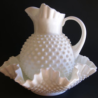 Vintage 1950s Milk Glass Hobnail Pattern Fenton Large Pitcher And Bowl Set With Paper Label And Embossed Mark