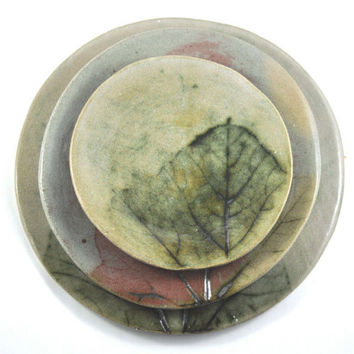 Handmade Ceramic Plate Set  -Dinnerware -  Pumpkin Leaf Decoration - Rustic Pottery - Set of three - Unique Home Decor in Neutral Tones
