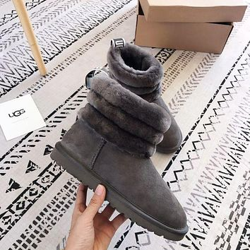 UGG Fashion New Keep Warm Classic Mini Fluff Quilted Boot Shoes Women Gray