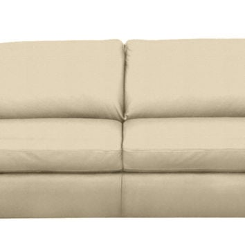 Paglia Full Leather Sleeper Sofa in Tamigi Beige