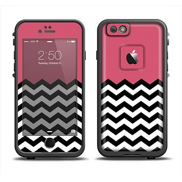The Solid Pink with Black & White Chevron Pattern Apple iPhone 6 LifeProof Fre Case Skin Set