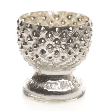 "Tabloid Mercury Glass Votive Holder in Silver - 2.75"" Tall"