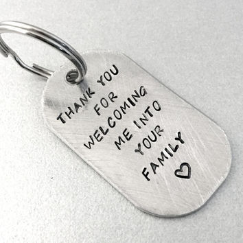 Personalized In-Law Keychain - Thank you for Welcoming Me Into Your Family - Rounded Aluminum Dog Tag - Can Be Customized with Name and Date