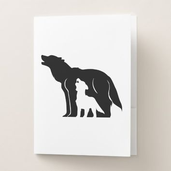 Black and White Wolves Pocket Folder