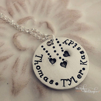 Personalized Necklace - Hand Stamped Jewelry - Mommy Jewelry - Name Necklace - Mom Necklace - Floating Hearts Jewelry - Personalize Jewelry
