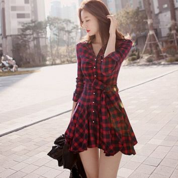 Elegant Slim Red Plaid Bow Shirt Dresses