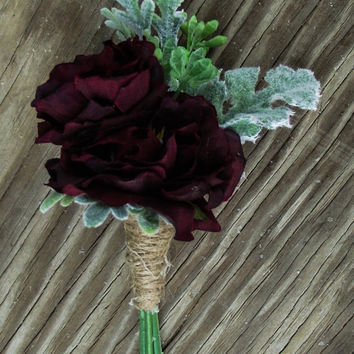 Marsala Boutonniere Wedding Flowers,Wine, Dark Red, Wedding, Marsala Blossoms, Dusty Miller and Seeded Eucalyptus. Twine, burlap, rustic