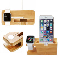 Bamboo Wood Stand for iPhone and Apple Watch - For All iPhone And Apple Watch