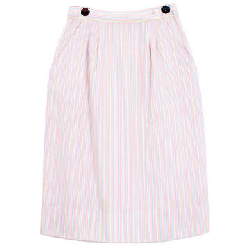 Vintage 1980s Pastel Stripe Knee Long Cotton Skirt With Pockets