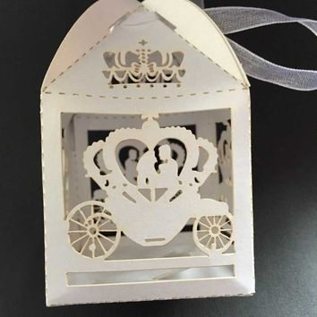 50pcs Laser Cinderella Enchanted Carriage Marriage ,pumpkin carriage Wedding Favor Boxes Candy (white ribbon)