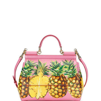 Dolce & Gabbana Miss Sicily Medium Canvas Pineapple Satchel Bag, Pink/Multi