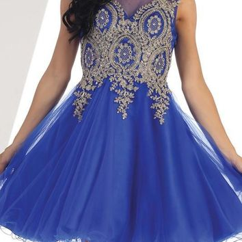 Trendy beaded gold embroidered short prom & homecoming dress - CLOSEOUT