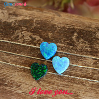 Heart Opal Necklace / Opal Pendant Necklace / Green Blue Opal Charm / Sterling Silver Necklace / Valentine Gift For Her / Romantic Jewelry