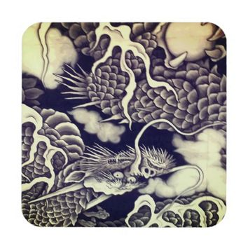 Cool traditional Japanese Dragon Texture Beverage Coaster