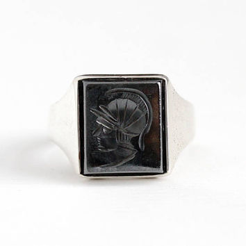 Vintage Sterling Silver Intaglio Warrior Hematite Gem Ring - Size 9 3/4 Men's Roman Soldier Cameo 1930s Gray Gemstone Statement Jewelry