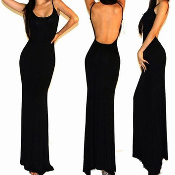 Hot Sexy Black Minimalist Backless Open Cutout Back Slip Jersey Long Maxi Dress  SV003496 = 1902093828