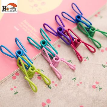 CUSHAWFAMILY 2 pcs colorful Cute metal clip prevention lost clothes file storage clips multi-function for Home office supplies
