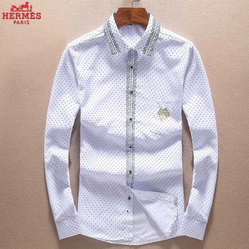 Boys & Men Hermes Fashion Casual Long Sleeve Shirt