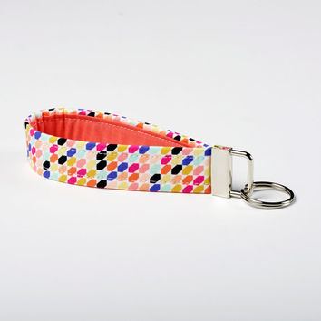 Womens Keychain, Fabric Wristlet, Key Fob - Vibrant Geometric - Coral, Magenta, Purple, Teal, Orange