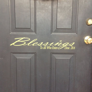 Custom Blessings Vinyl Front Door Decal