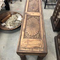 Antique India Low Table Teak Furniture Hand Carved Chakra Carving Wood Bench Console CHAI Table