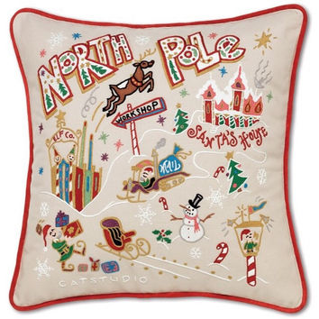 North Pole Hand Embroidered Pillow