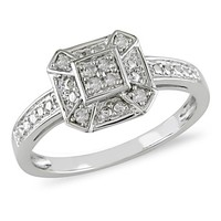 Miadora 14k White Gold 1/6ct TDW Diamond Filigree Vintage Inspired Ring | Overstock.com