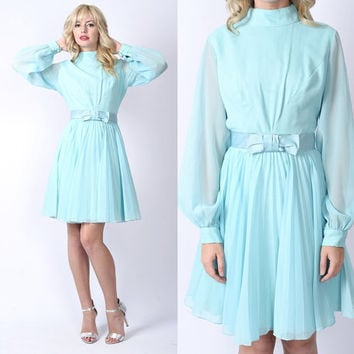 Vintage 70s Sky Blue Cocktail Dress Bow Sheer Slv Mini Accordion Pleated Boho M Medium
