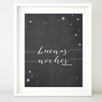 """Nursery chalkboard printable poster """"buenas noches"""" (goodnight in Spanish) Spanish quote print, silver accents, quote in Spanish -chp021"""
