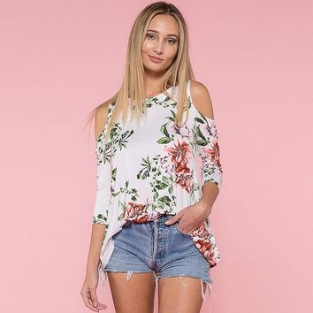 Chiffon Blouse Sexy Cold Shoulder Women Floral Printed Casual Shirt Blouse Vintage Top Long Sleeve White Shirt
