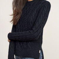 Side Slit Solid Color Round Collar Twist Wave Pullover Sweater