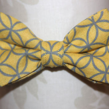 Yellow & Grey Adjustable Bowtie Baby / Infant / by CottonKandyShop