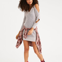 AEO Wrap-Sleeve Cold Shoulder Sweater Dress, Oatmeal