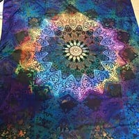 Enipate Twin Blue Tie Dye Bohemian Tapestry Elephant Star Mandala Blanket Wall Hanging Beach Shawl Coverlet Curtain (Blue)