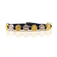 St. Benedictine Blessing Bracelet Navy with Mixed Metal
