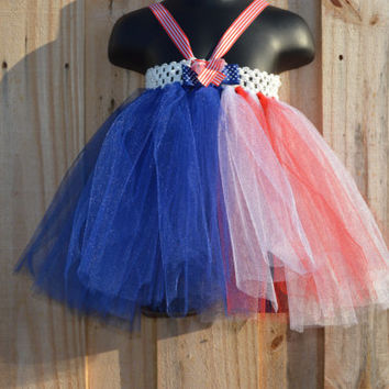 Adorable Fourth of July Dress Set/Patriotic Dress/matching hairbow/detachable hairbow/july4th