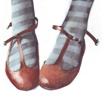 HM099 Original art watercolor painting Favorite Leather Shoes by Helga McLeod