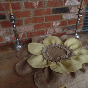 "Burlap Yellow  Flower placemat, table cover, centerpiece, Huge 24"", table covering"