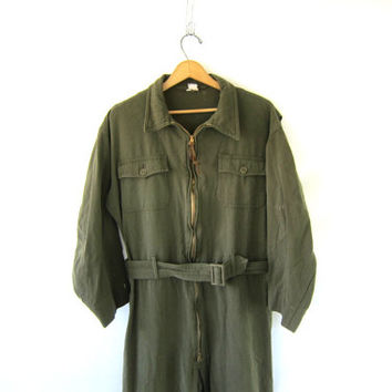 Vintage army Jumpsuit car Mechanics Pants Vintage Military Coveralls. Paratrooper Outfit. Military Halloween Costume. wool flight suit