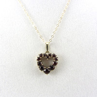 Vintage 14K Gold Heart Garnet Pendant Necklace Mid Century Red Gemstone January Birthstone Love Token Yellow Gold Fine Jewelry