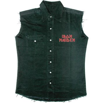 Iron Maiden Men's  The Final Frontier Face Work Shirt Black Rockabilia