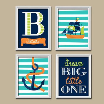 PIRATE Wall Art, Boy Nautical Navy Green Pirate Theme Baby Boy Nursery Wall Art, Boy Bedroom Canvas or Prints Boy Boy Wall Art, Set of 4