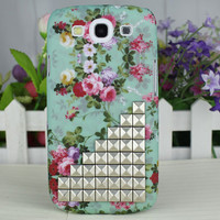 Silvery Stud The Prettiest Flower Hard Case Cover for Samsung Galaxy S3 i9300