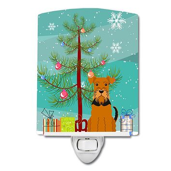 Merry Christmas Tree Airedale Ceramic Night Light BB4166CNL
