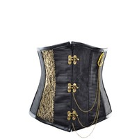 Black Underbust with Gold Embroidered Design
