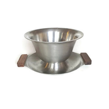 Stainless Teak Gravy Bowl Japan Vintage Kitchen
