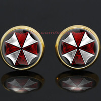 resident evil umbrella corps zombie gold plated stud post earrings,girlfriend gift Bridesmaid Gift