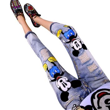 LUCKY STAR Brand 2017 Fashion Cartoon Boyfriend Jeans for Women Vintage Girls Ripped Jeans Denim Pencil Pants A149